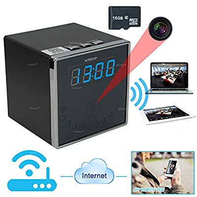 Wiseup™ 16GB 1920x1080P HD Wifi Network Hidden Camera Clock Motion Activated Video Recorder 140°Wide View Angle for Android iPhone APP Remote View