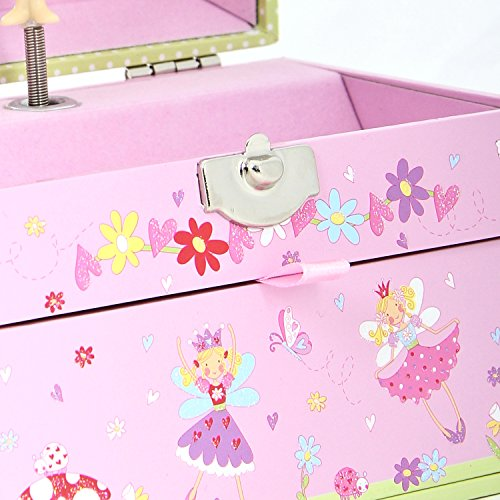 Fairy Tale Kids Musical Jewellery Box Pink Glittery Kids Music Box with Bead Carry Handle Lucy Locket