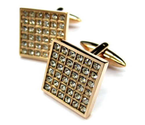 Tailor B Rose Gold White Crystals Square (Rose White Cufflinks)