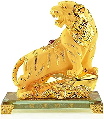 DMtse Chinese Feng Shui Brass Mini Tiger Decor Statue Figurines for Animal Sculpture Collectibles Gift