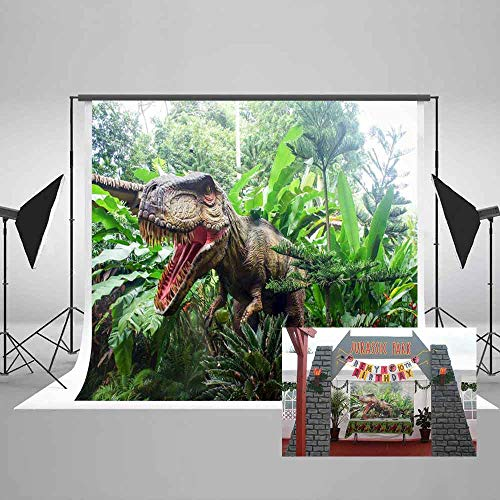 MEETS 7x5ft Jurassic Park Backdrop Dinosaur Green Plant Photography Background Themed Party Photo Booth YouTube Backdrop GEMT886 … -