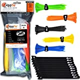 zip ties kit - Colored Cable Ties by ZippTie | 260ct 6-inch Multi-colored Cable Management Kit Heavy Duty 50lb (Zip Ties) | Includes 10 Reusable ZippCro Wraps