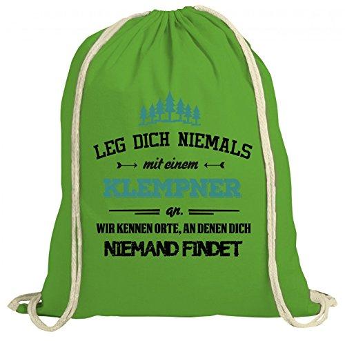 ShirtStreet Handwerker Installateur natur Turnbeutel Rucksack Gymsac Leg Dich niemals mit einem Klempner an Grün Natur 7uQuemCd6
