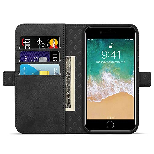 """Zover Compatible with iPhone 8 Plus 7 Plus 6 Plus Wallet Case Premium PU Leather [RFID Blocking] Flip Folio Cards Holder Support Wireless Charging Car Mount Kickstand(6/7/8Plus 5.5"""" Black)"""