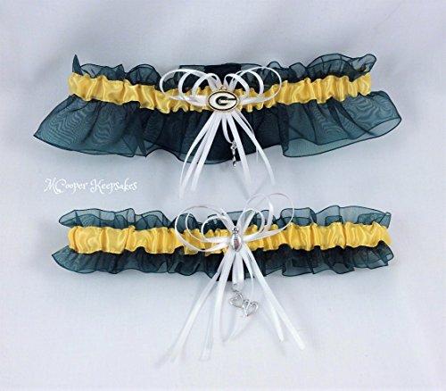 Green and Gold Green Bay Inspired Football Bridal Garter Set