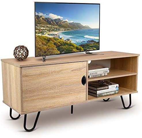 Modern TV Stand Media Console Entertainment Center Wood TV Console Cabinet with 2 Storage Shelves, Door and Metal Hairpin Legs for Flat Screen TV Cable Box, Gaming Consoles, in Home Office Living Room