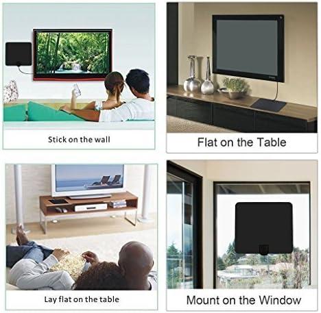 Antena de TV Fox Satelite Antena Interior Largo Alcance HDTV TDT Rango de Recepción Antenas TV Portatil Planas HDTV Mayor Rango de Recepción de 50km 4m Cable de 4m Cable de Materiales