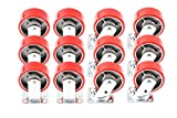 12) Red 5'' Heavy Duty Wheel Casters Set 6 Swivel and 6 Fixed Iron Hub No Mark Non Skid