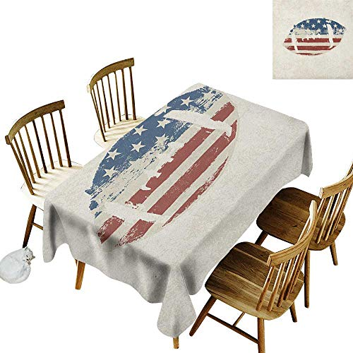 Red Lion Solid Rugby - kangkaishi Anti-Wrinkle and Anti-Wrinkle Polyester Long Tablecloth for Weddings/banquets Grunge American Flag Themed Stitched Rugby Ball Vintage Design Football Theme W14 x L108 Inch Cream Blue Red