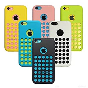 Dot Hollow-Out Solid Color Soft Back Case for iPhone 5C(Assorted Color) --- COLOR:White