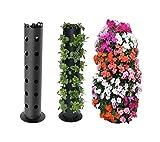 Vertical Gardening Strawberry Planter/Herb/Tomato/Flower Tower Freestanding (BLACK)