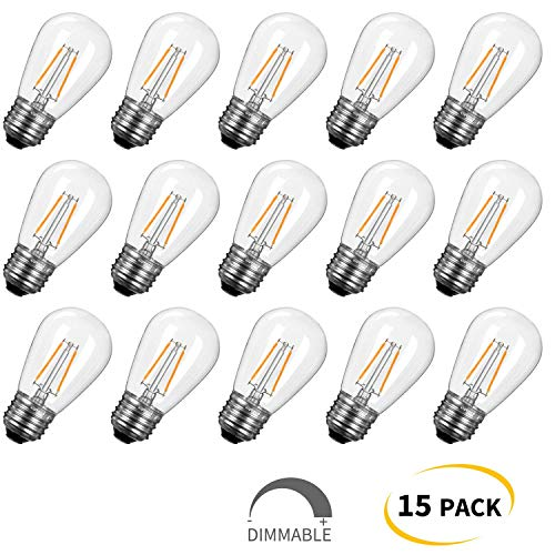 S14 LED Light Bulbs 15 Pack 1.5W (Equivalent to 11 W) Shatterproof Replacement Bulbs with E26 Medium Base, Warm LED Bulbs for Outdoor Patio Garden Vintage String - 1.5w Led