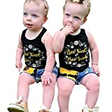 2Pcs/Set Fashion Toddler Kids Baby Girl Sleeveless T-Shirt Top+Floral Denim Shorts Outfits (Black 2, 4T)
