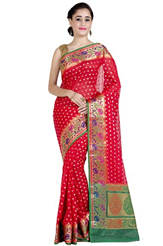 Chandrakala Women's Red Cotton Silk Blend Banarasi Saree,Free Size(1248RED)