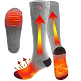 Rabbitroom Electric Heated Socks with Rechargeable Batteries, Thermal Heating socks for Men and Women, Winter Foot Warmer for Outdoor Camping, Hiking, Skiing, Hunting(Gray-B)