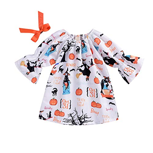 INHoney Baby Toddler Girl Halloween Pumpkin Dress Bat Costume Witch Cat Printed Dress (3-4 Years, White) -