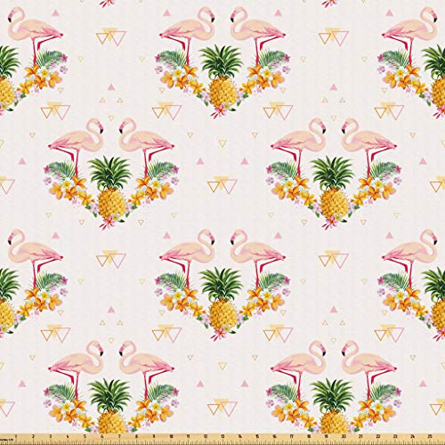 Lunarable Flamingo Fabric by The Yard, Geometrical Pineapples and Flamingos Tropical Summer Fruit Pool Party, Microfiber Fabric for Arts and Crafts Textiles & Decor, 1 Yard, Orange Green Pale Pink from Lunarable