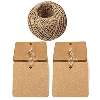 jijAcraft 100 PCS Brown Square Kraft Paper Gift Tags with 30 M Jute Twine for Crafts Hang Tags, Luggage Tag, Price Tags, DIY Tags JIJIA 4336879830