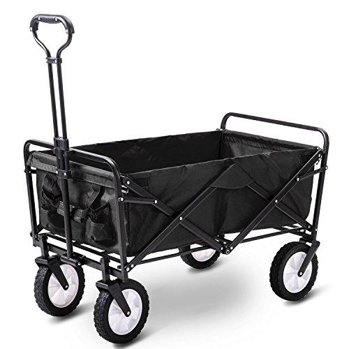 LIFE CARVER Garden Cart Foldable Pull Wagon Hand Cart Garden Transport Cart...