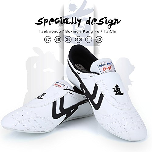 Taekwondo Shoes Martial Arts Sneaker Boxing Karate Kung Fu Tai Chi Shoes Black Stripes Sneakers Lightweight Shoes for Men Women (45 Red)
