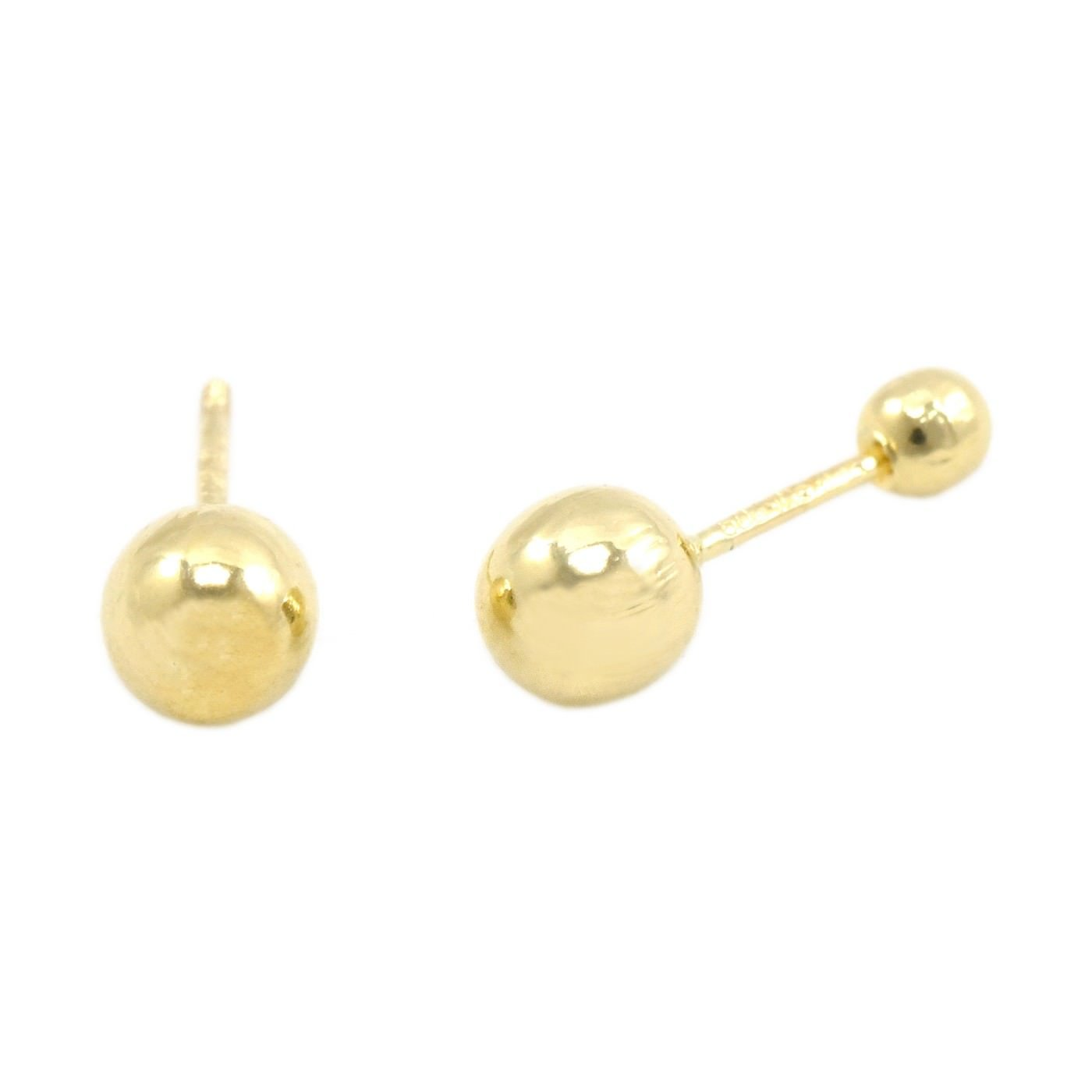 Baby Girls Childrens Womens Screw Back Earrings 14k Gold Hollow Ball Studs Pair Sizes 3mm-5mm Trendy Earrings by WSI 14k-BALLSTUD
