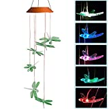 Dragonflies LED Solar Mobile Wind Chime Night Light, Color-Changing, Six Color Dragonflies Wind Chimes For Home,Bedroom,Party,Festival Decor,Valentines Gift,Night Garden Decoration with Spinning Hook