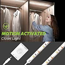 Motion Activated LED Strip Light, Megulla Motion Sensor Night Light-USB Rechargeable Battery, Stick Anywhere, Automatic Shut Off Timer- for Under Cabinet, Closets and Wall Shelves