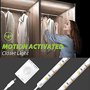 Motion Activated Closet Light, Megulla Motion Sensor LED Night Light   39inch, USB Rechargeable Battery, Stick Anywhere  Auto Shut Off Timer For  Kitchen ...