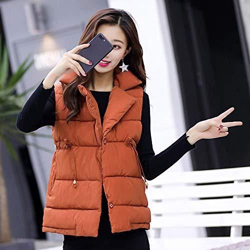 Zipper Short Cotton Womens Jackets Warm Outerwear Coats Overcoat Slim Thick Padded Coffee Sleeveless DOLDOA Xxz0Bx