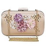 Chichitop Women's Flower Evening Clutch Pearl Beaded Evening Handbag Wedding Clutch Purse, Apricot