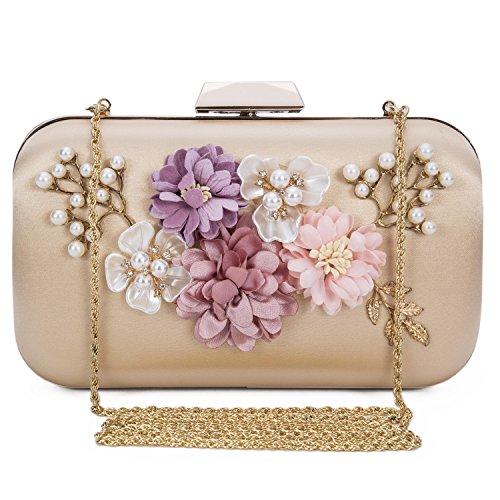 (Chichitop Women's Flower Evening Clutch Pearl Beaded Evening Handbag Wedding Clutch Purse, Apricot)