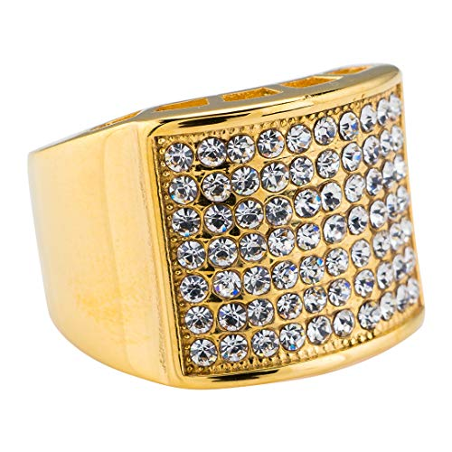 NIV'S BLING 14K Yellow Gold-Plated Iced Out Hip Hop Pinky Ring Size 8