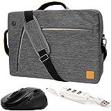 "VanGoddy Gray Slate 3-in-1 Hybrid Laptop Bag w/ Wireless Mouse and USB Hub for Acer TravelMate / V Nitro / Aspire / Spin / Swift / ChromeBook / Predator / 14""-15.6inch"