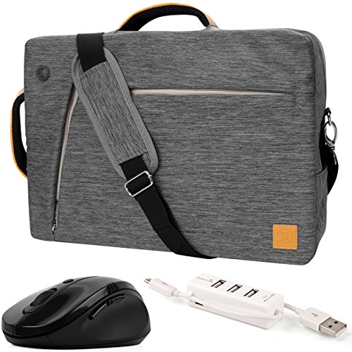 "Mouse Pad Usb Hub (VanGoddy Gray Slate 3-in-1 Hybrid Laptop Bag w/ Wireless Mouse and USB Hub for Lenovo Flex / ThinkPad / IdeaPad / Yoga / Legion 14"" - 15.6inch)"