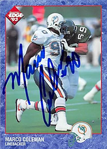 Marco Coleman autographed Football Card (Miami Dolphins) 1993 Collectors Edge #112 - NFL Autographed Football Cards