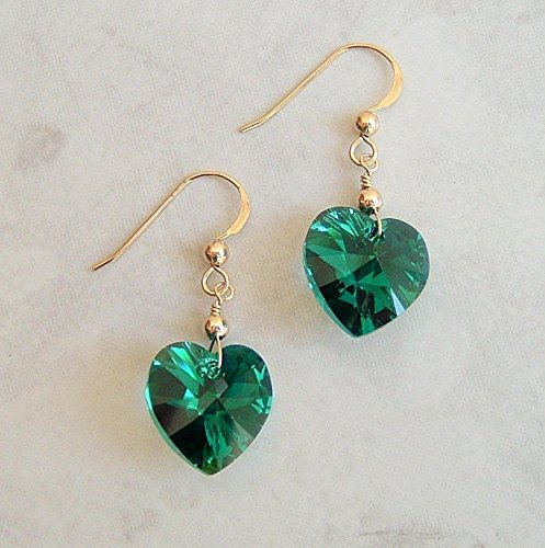 Dark Green AB Heart Gold Filled Earrings Simulated Emerald May Birthstone Made w/Swarovski Crystals Gift Idea