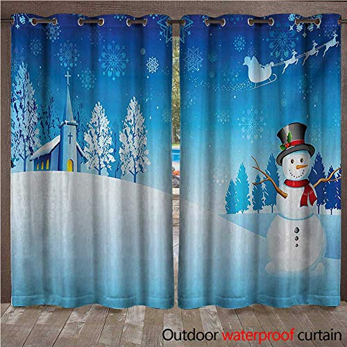 s Outdoor Door Curtain Snowman on The Christmas Eve Santas Sleigh in The Starry Sky Fantasy ArtworkW108 x L96 Blue White ()