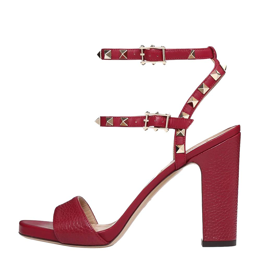 270a828b82 Amazon.com: Themost Rivets Sandals Rock Studded Strappy Chunky Heel ...