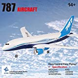 Flurries  RC Airplane RTF with Light Bar - Remote Control Glider Toy - B787 Helicopter Plane with 3CH 2.4GHz Radio Control - 550mm Wingspan 6-Axis Gyro - Outdoor Indoor Aircraft (Blue, White)