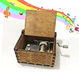 Personalizable Wood Engraved Music Box, Kicpot Wood Music Box Hand Crank Music Box for Game of Thrones Theme