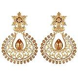 I Jewels Gold Plated Chandbali Earrings For Women E2358FL (Gold)