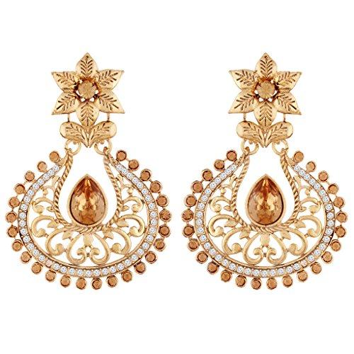I Jewels Gold Plated Chandbali Earrings For Women E2358FL (Gold) by I Jewels