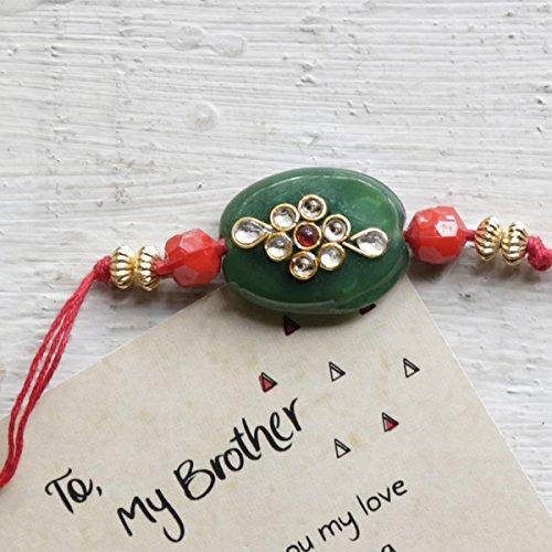 Raksha Bhandan Green Gemstone Rakhi With Decorated Floral Kundan Design Studded Crystals Satin Thread And Greeting Card