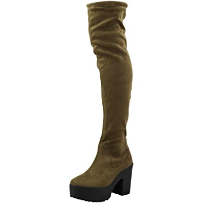 cd86eab70fc0 Loud Look Womens Ladies Thigh HIGH Over The Knee Boots Chunky Heel Stretch  Platform Size  Amazon.co.uk  Shoes   Bags