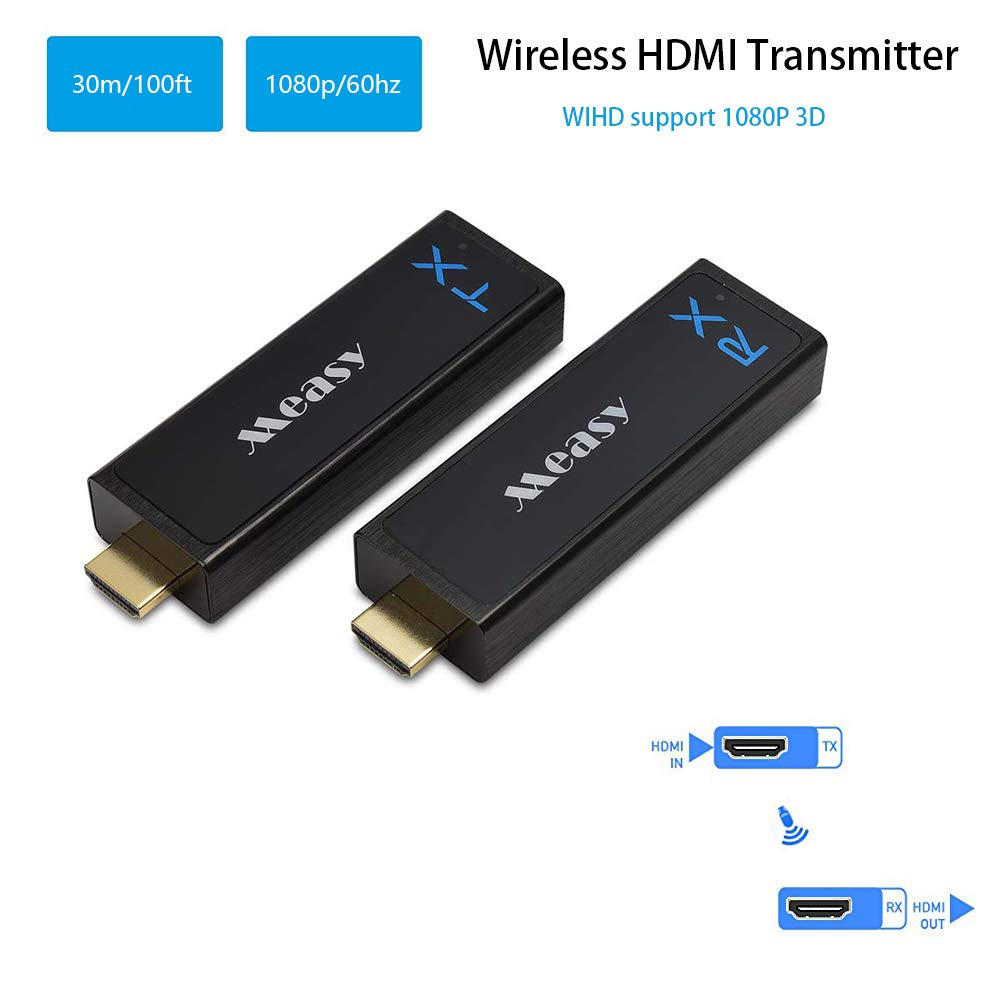 measy Wireless HDMI Transmitter and Receiver HDMI Extender up to 30M/100Feet Support 1080P 3D Video from Laptop PC PSP Xbox Camera to Projector HDTV Monitor