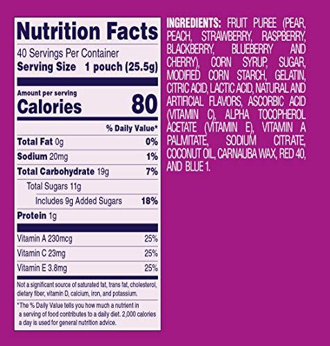 Welch's Fruit Snacks, Berries 'n Cherries, Gluten Free, Bulk Pack, 0.9 oz Individual Single Serve Bags (Pack of 40)