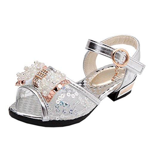 - Vokamara Girls Crystal Rhinestone Sequined Bow Low Heel Sandal Silver 28