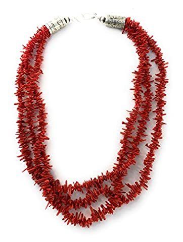 Southwestern Red 3 Strand Italian Coral Sterling Silver 21