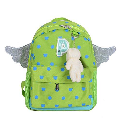 Skyflying Wing Bear Kids Book Backpack Baby Girls School Bag (green)
