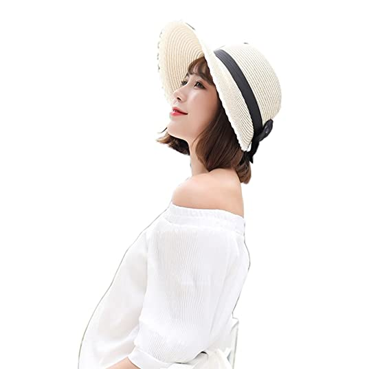 922722b987a YSJOY Women s Summer Sun Beach Hat Foldable Sun Protection Cap Wide Brim  Not Adjustable Bucket Hat